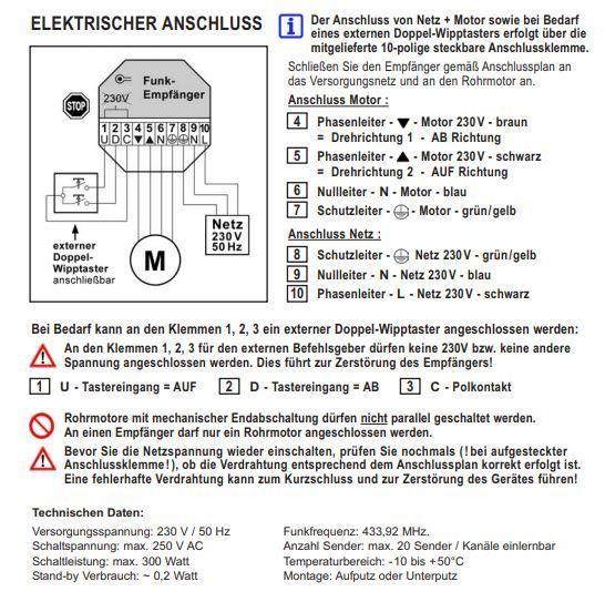 Fernbedienung inkl. UP-Funkempfänger für 230 Volt Elektromotor ...